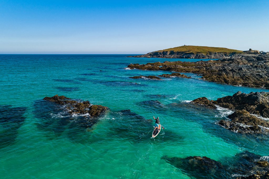 SUP at Little Fistral, Newquay, Cornwall. Image