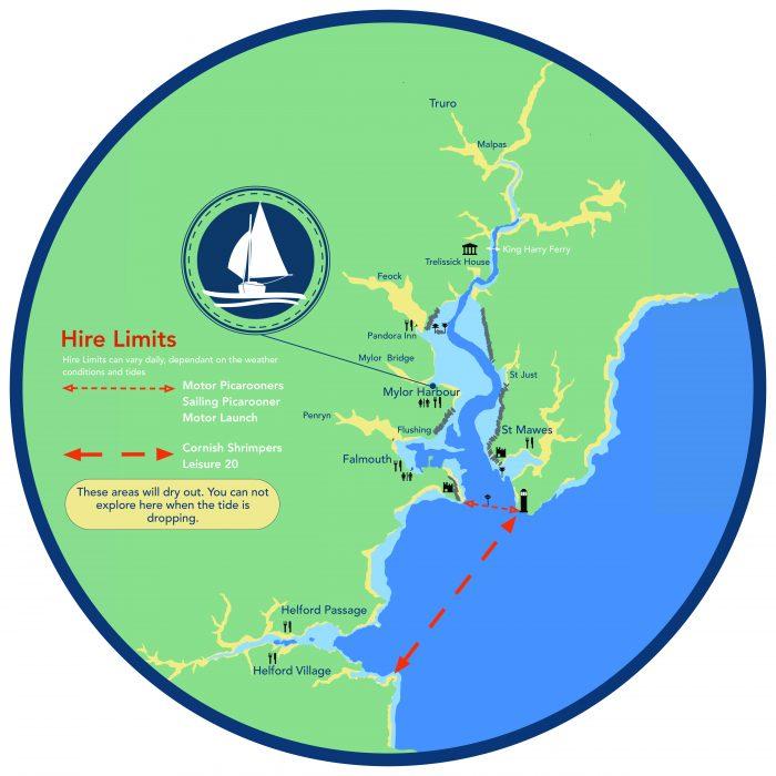 Mylor boat hire map, River Fal